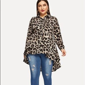 Sugar Leopard Print High Low Blouse